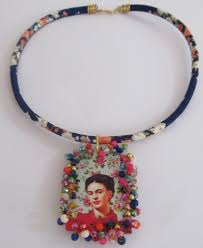 frida kahlo mexican necklace handmade heart beaded pendant