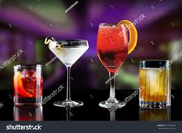 martini bar selection cocktails martini spritz bramble gin stock photo
