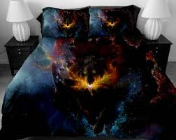 wolf bed set 3 pcs twin full queen size wow world of warcraft duvet cover