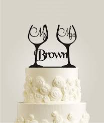 glass wedding cake toppers personalized mr mrs toasting wine glass wedding cake topper