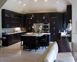 Dark Floor Kitchen by Espresso Cabinets And White Tiles Floors Home Styling