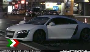 audi germany audi r8 shot up in police chase in germany quattroworld