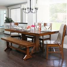 Wood Dining Table With Bench And Chairs Countryside Chic 6 Piece Antique Brown Wood Dining Set With Dining