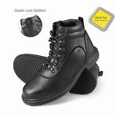 slip on motorcycle boots genuine grip men u0027s slip resistant steel toe zipper work boots