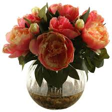 artificial peonies d w silks pink peonies in glass traditional artificial