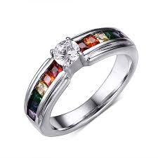 colored gemstone rings images Rainbow colorful gemstone silver titanium steel women 39 s engagement jpg