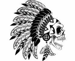 indian skull 8 warrior headdress feather tribe