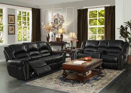 Chenille Reclining Sofa by Homelegance Center Hill Double Reclining Sofa In Black Leather