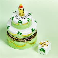 limoges 2 story birthday cake lucky clovers box gift