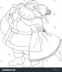 vector illustration coloring page mrs claus stock vector 173753210