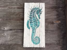 large seahorse sign nautical pallet wood house by peacebabys