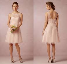2014 bridesmaid dresses soft peach tulle sheer crew neck a