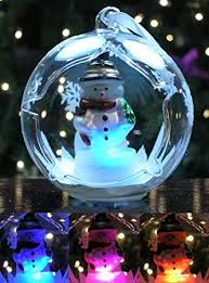 led snowman ornament glass globe ornament with