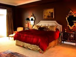 luxurious mirror red bed golden color brown rug brown wall