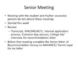 senior student parent night senior meeting meeting with the