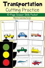 cutting practice worksheets transportation mamas learning corner