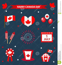 National Flag Of Canada Day Happy Canada Day Icons Set Design Elements Flat Style July 1