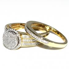 yellow gold wedding ring sets his and bridal rings set trio 0 65ct 10k yellow gold halo