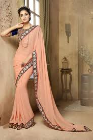 buy party wear peach color saree in silk fabric online 162h201206