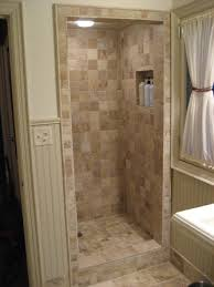 bathroom stone walk in shower and white curtain plus recessed