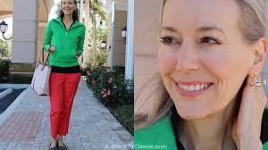 preppy for women over 50 preppy resort ootd kelly green pullover coral cropped pants