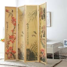 oriental style 4 panel wood room divider japanese art print