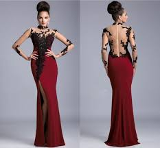 maroon dresses for wedding 2015 high neck maroon prom dress slit side sheer back prom