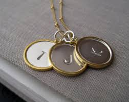 three initial monogram necklace metal letters etsy