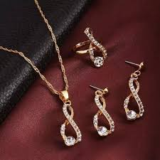 luxury gold necklace images Elegant design wedding infinity love crystal rhinestone necklace jpg