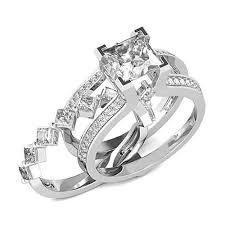 princess cut wedding set diamond essence designer wedding set with insertable wedding ring