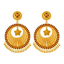 ear ring images 22kt yellow gold kaanbali earring gold earrings online for women