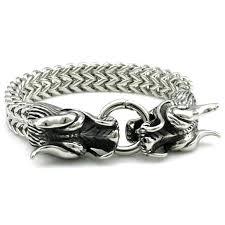 stainless steel snake bracelet images Cool stainless steel double dragon snake chain bracelet project jpg