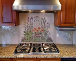 painted kitchen backsplash photos flowering herb garden custom painted kitchen backsplash tile mural