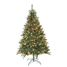 shop jeco 7 ft pre lit berrywood pine artificial tree with