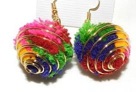 funky earrings online shopping dangle tassel funky earrings with pompoms for
