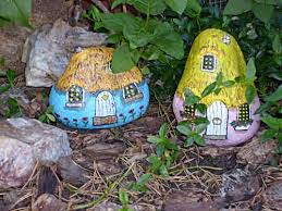 Painting Rocks For Garden Craft Gnomes Homes Can You Picture Two Gnome Home Painted Rocks