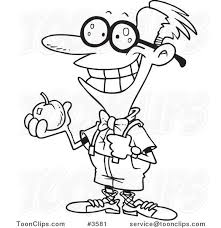 cartoon black and white line drawing of a nerdy boy holding