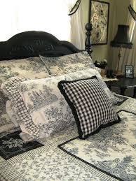 French Toile Bedding Bedroom Design With Carving Black Wood Headboard Feat French Grey