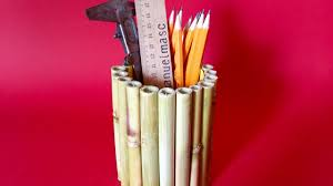 how to make a stylish free bamboo pen holder diy crafts tutorial