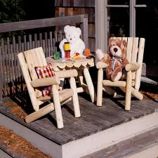 Cedar Patio Furniture Sets - kids log chair furniture set in cedar dfohome