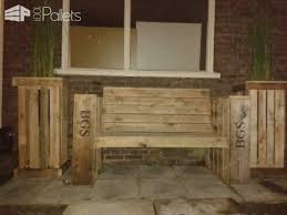Lounge Benches Lounge Bench U0026 Two Large Planter Boxes Made Of Recycled Pallet