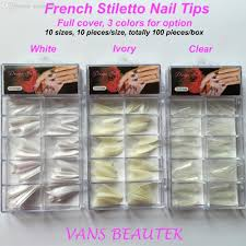wholesale french sharp end stiletto acrylic nail tips full cover
