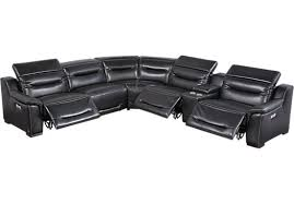 sofia vergara gallia black leather 6 pc power plus reclining