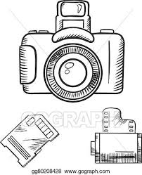 vector illustration photo camera memory card and film roll