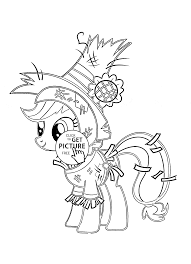 my little pony funny applejack pony halloween coloring page for