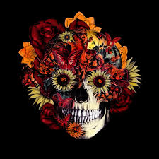 circle floral ohm skull by kristy patterson skullz