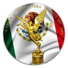 Mexico Flag Symbol Flag 2015 1 Oz Libertad Silver Coin Color 24k Gold