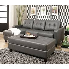 Sectional With Ottoman Abbyson Montgomery Leather Reversible Sectional And Ottoman Free