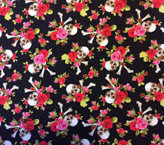 Halloween Material Fabric Skulls Halloween Scary Terror Roses Dead Floral Quilting Cotton