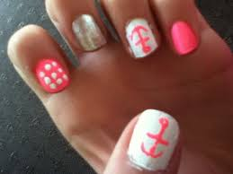 cute and easy nail designs anchor pink animal print nail ideas